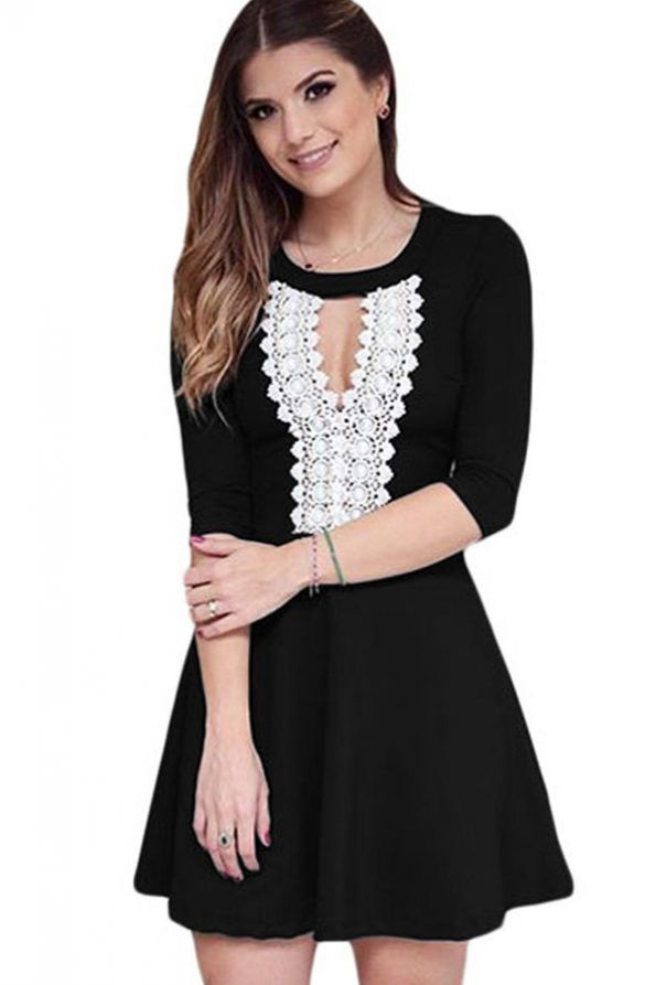 bd62cbe20ca0  25.99   Black Keyhole Crochet Half Sleeve Casual Dress   Evergreenfashion