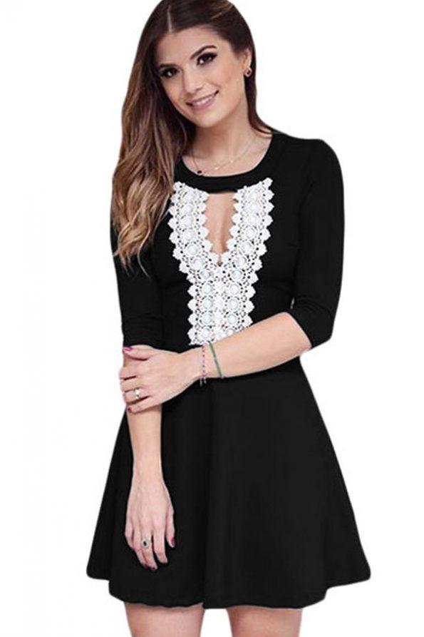 bd62cbe20ca0  25.99   Black Keyhole Crochet Half Sleeve Casual Dress   Evergreenfashion
