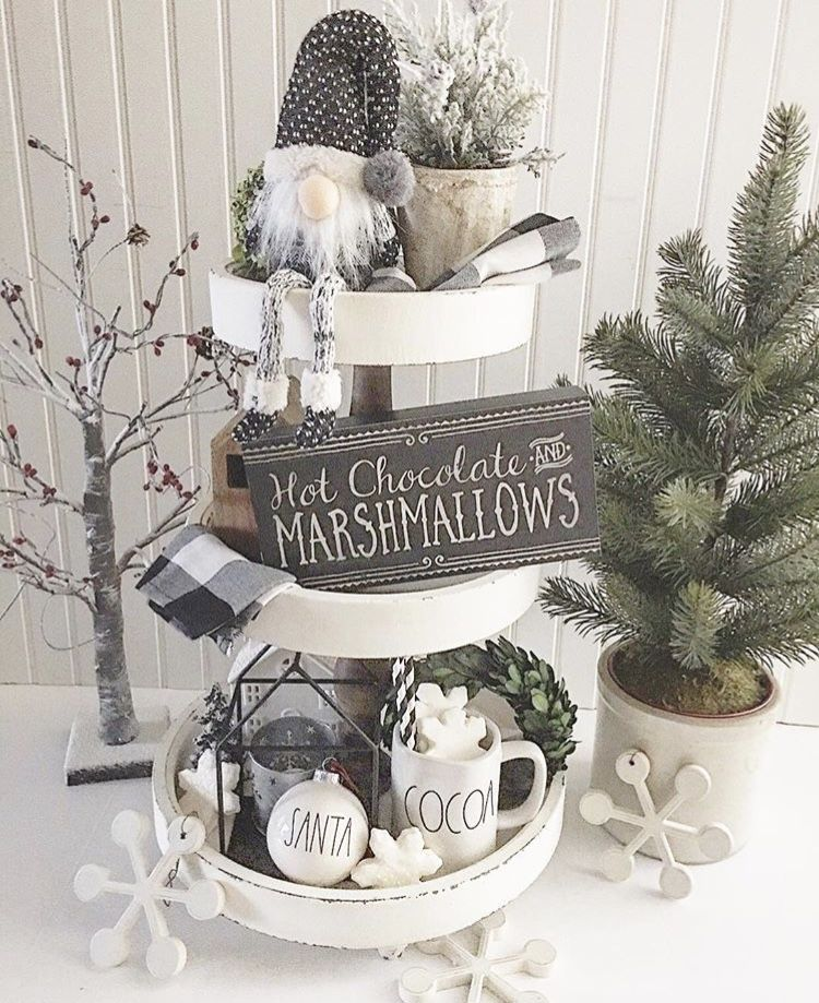 Places For A White Christmas 2020 Christmas Farmhouse Tiered Trays by Lori's Place grey and white