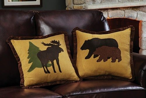 2-Pc Northwoods Moose Bear Pillow Covers Lodge Cabin Decorative ...