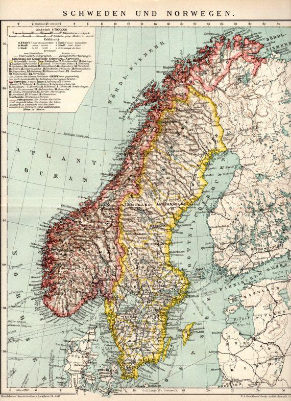 1898 Sweden Norway Antique Map Print Vintage Lithograph North Etsy Map Print Old Map Antique Map