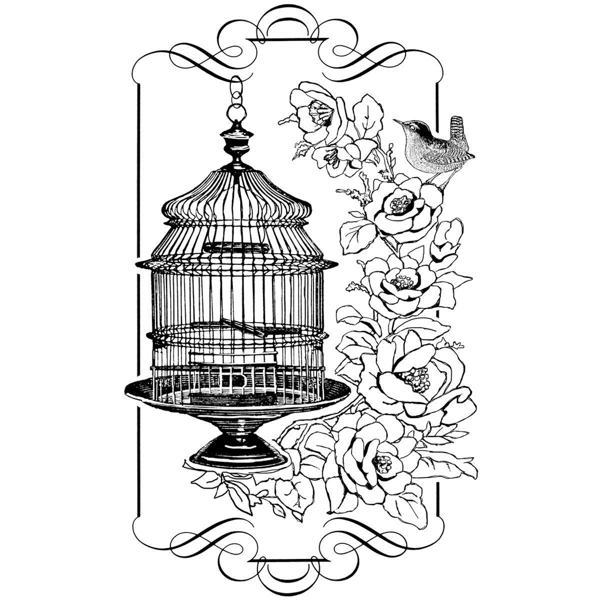 Crafty Individuals Unmounted Rubber Stamp Floral Birdcage | Products