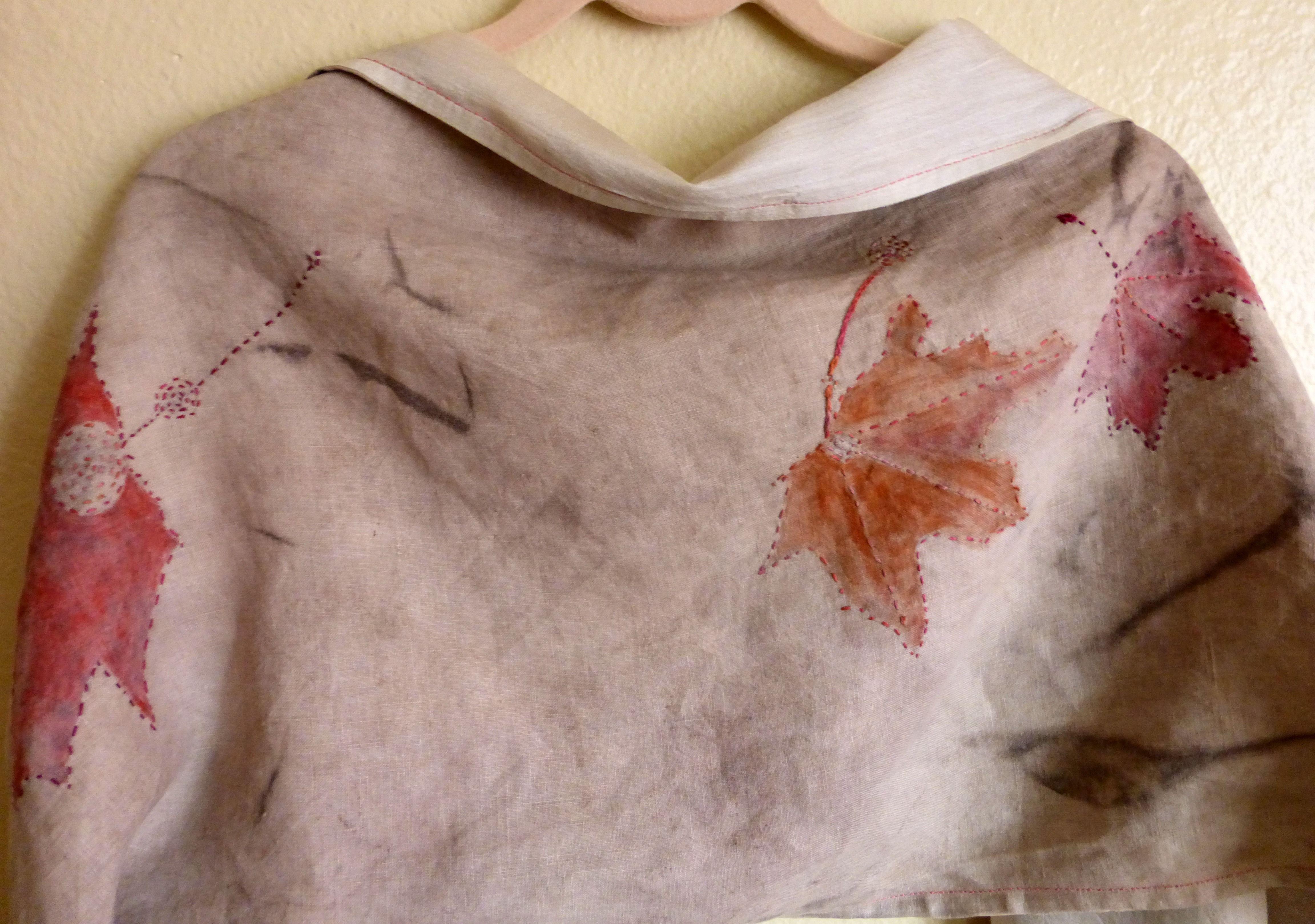 acorn dyed linen and ahimsa peace silk scarf