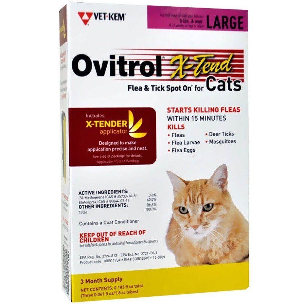 Ovitrol Xtend Flea Tick Spot On For Large Cats 5 Lbs And Over 3 Month You Can Find Out More Details At Flea And Tick Tick Treatment For Dogs Ticks On Dogs