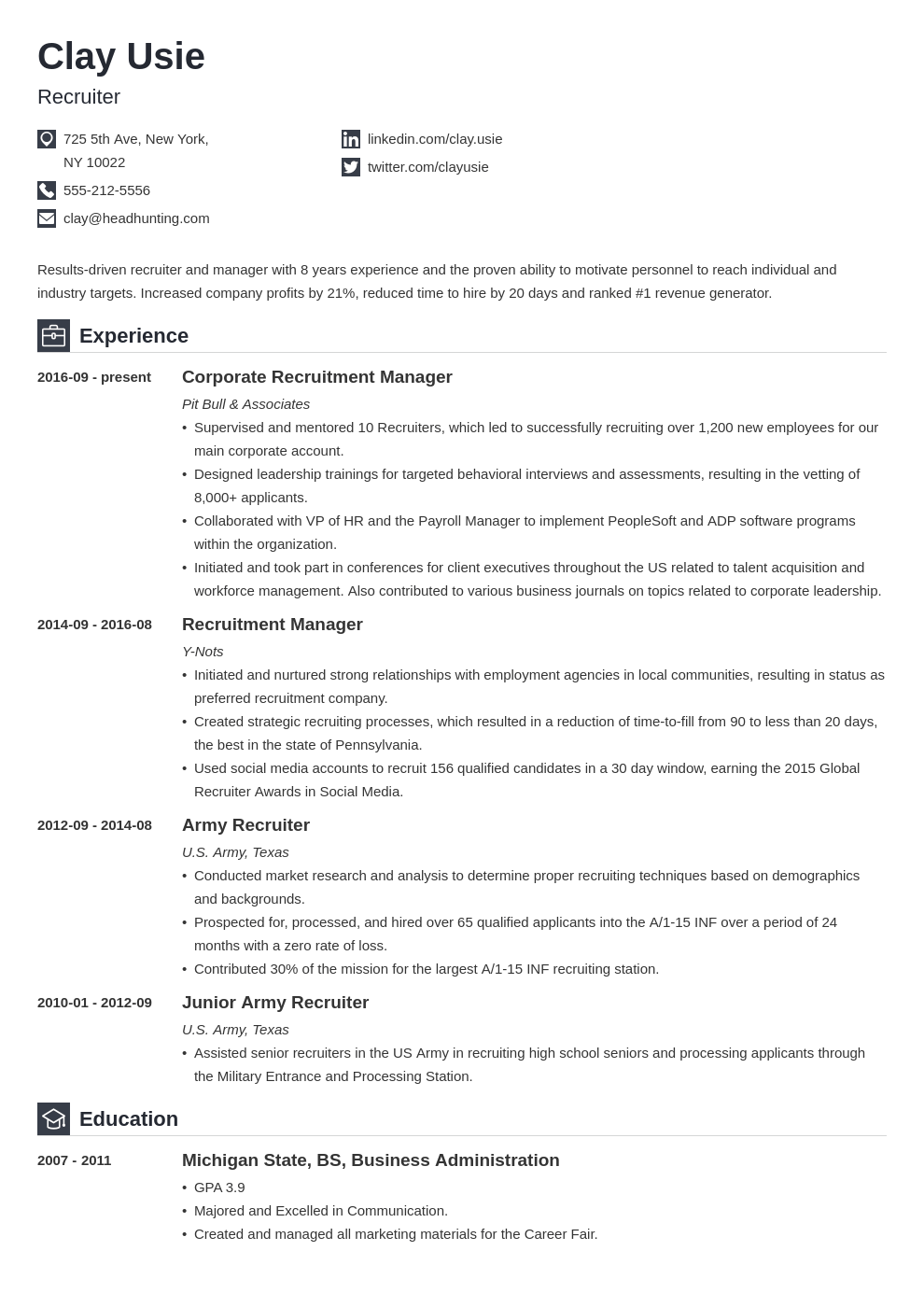 recruiter resume example template iconic in 2020