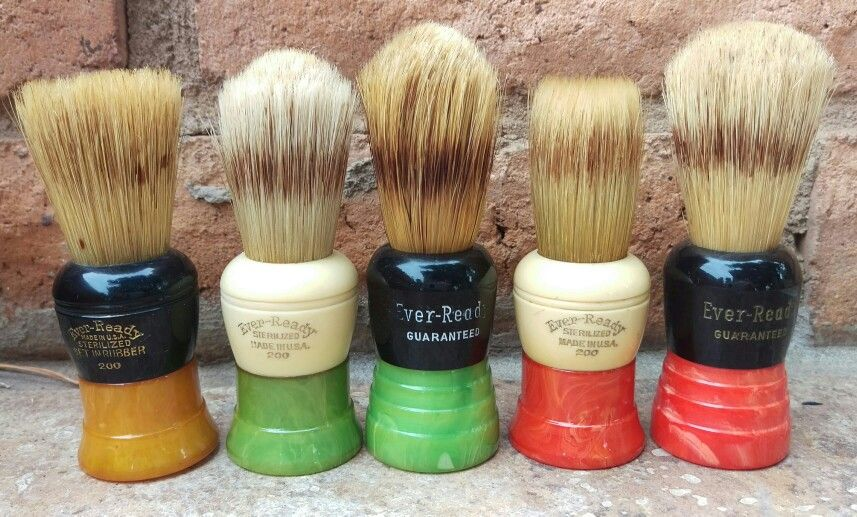 Collection of vintage Ever Ready 200 shaving brushes