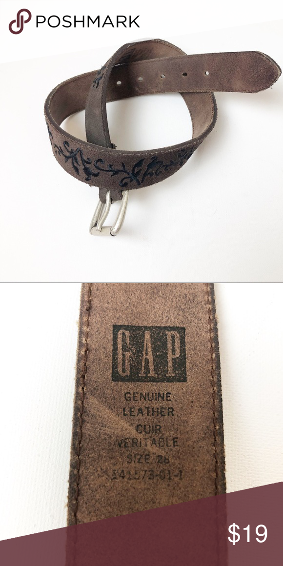 GAP • Brown Leather Belt with Black Embroidery M • Size: M