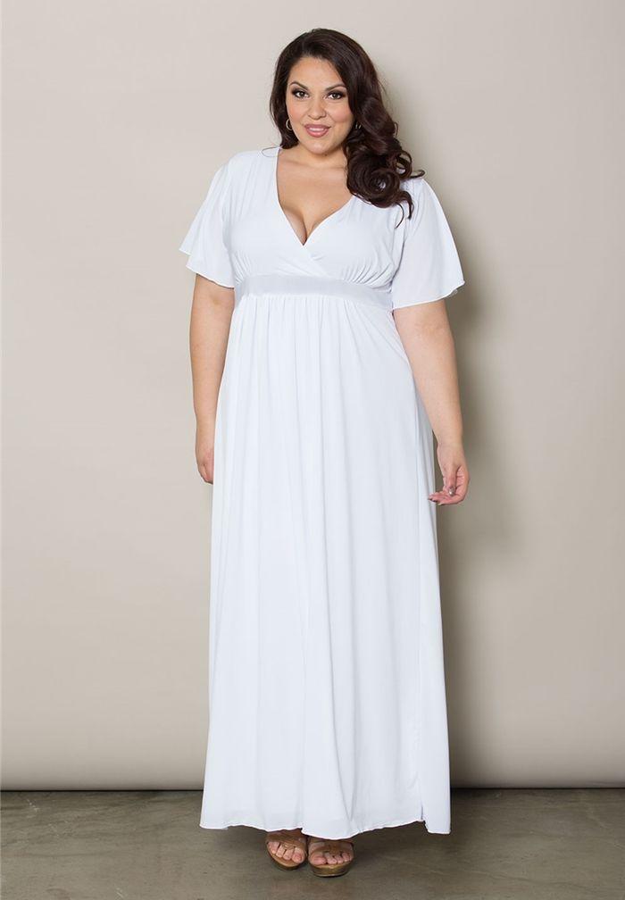 Plus Size White Long Maxi Dresses