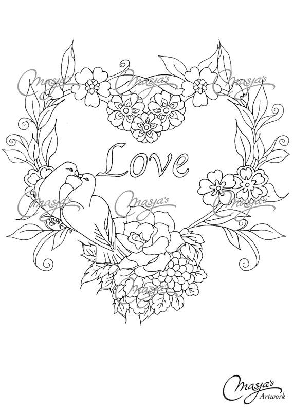 Masja's Flower Heart/Love hand-drawn Coloring by