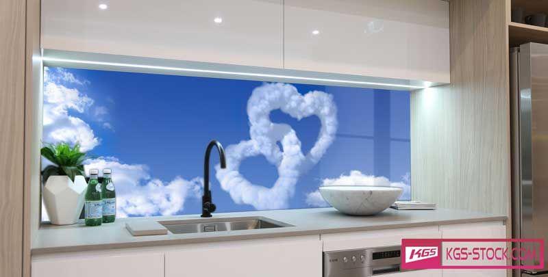 Splashbacks Glass Design Cloud Hearts In The Sky 100736