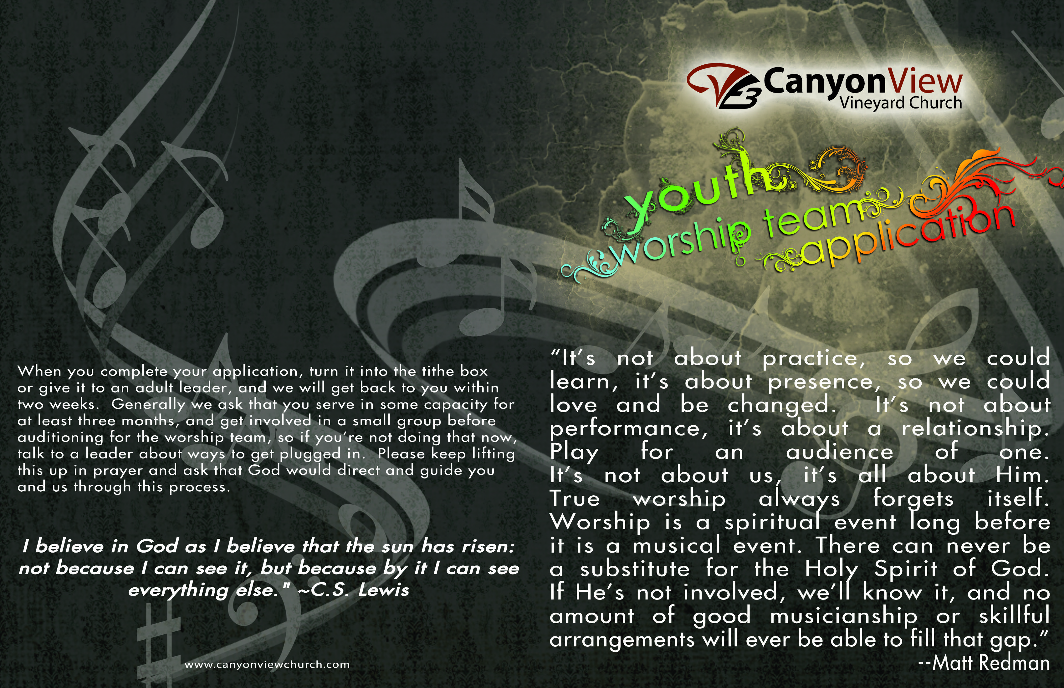 Youth Worship Team Application Cover Amp Back September