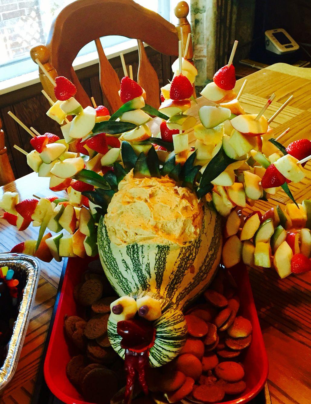 Thanksgiving Turkey fruit tray with pumpkin dip