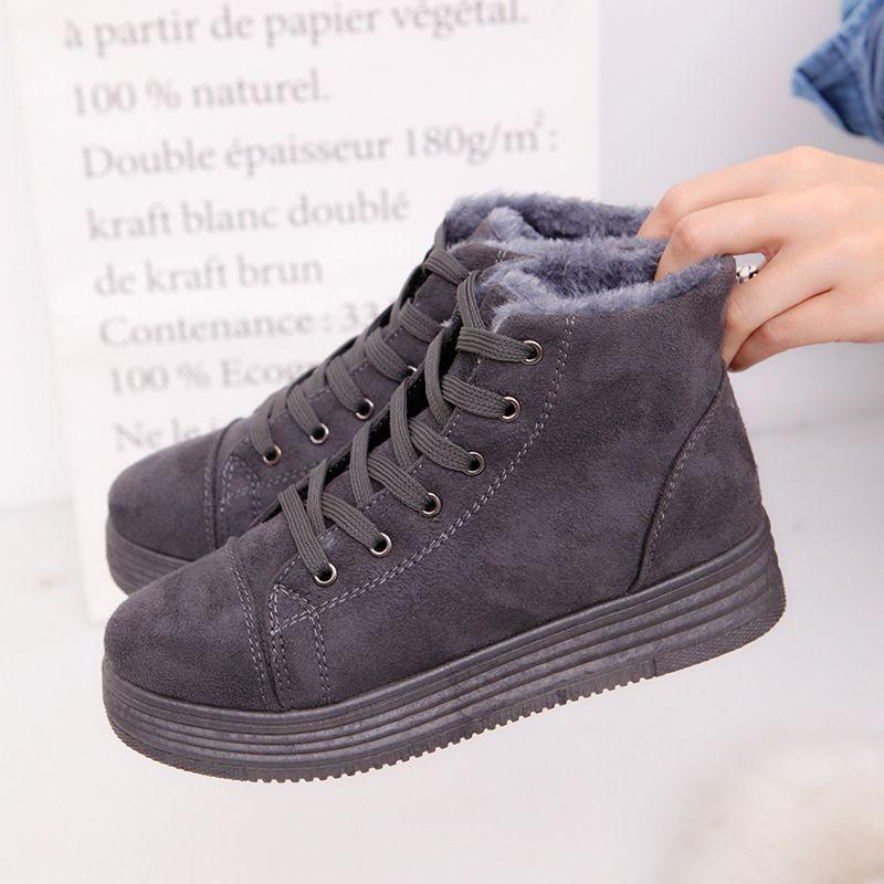 587d4f29cb9a Женские зимние ботинки теплые замшевые Зимняя обувь на платформе ...