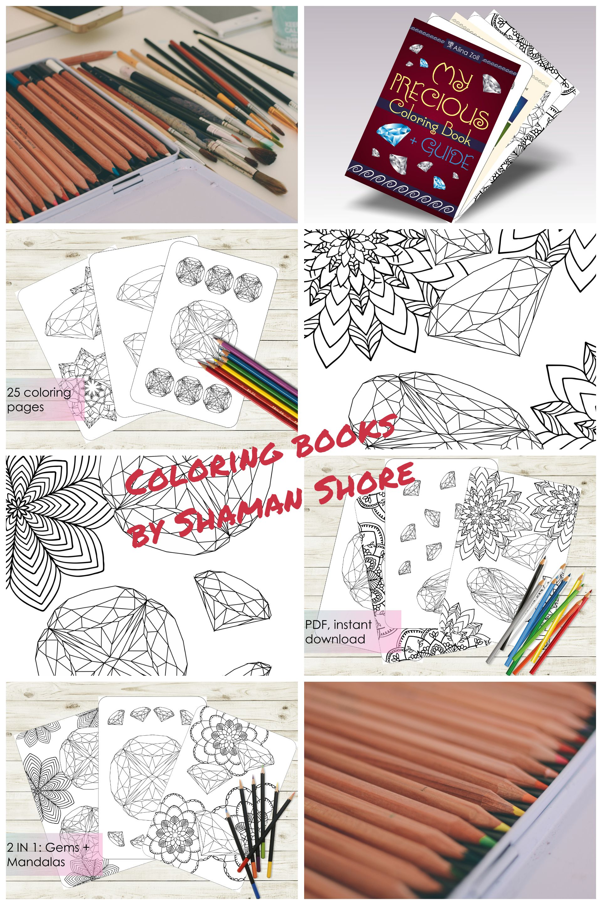 Gemstone Adult Coloring Book Pages Diamond Drawing Tutorial Printable Pdf Digital Download Guide