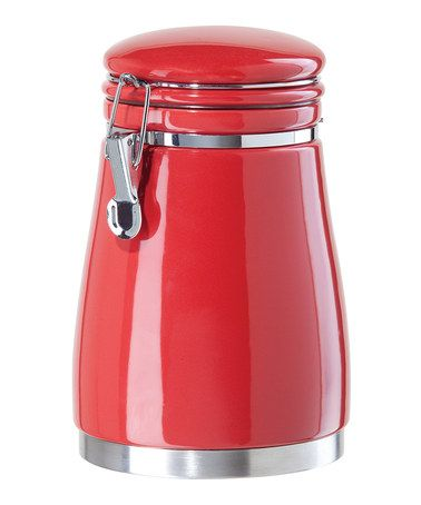 Take a look at this Red Airtight 70-Oz. Ceramic Canister by OGGI on #zulily today!