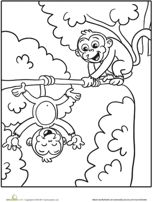 Kindergarten Animals Worksheets Silly Monkeys Coloring Page