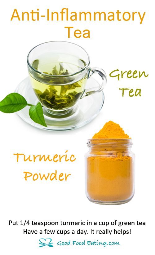Both green tea and turmeric are two VERY powerful anti-inflammatory agents. Give them a try together in a tea!