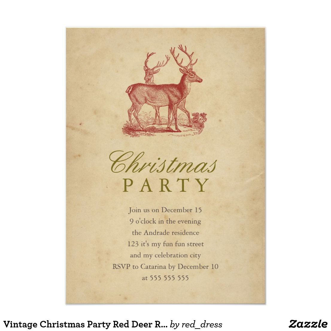 Vintage Christmas Party Red Deer Rustic Holiday Invitation Zazzle Com Vintage Christmas Party Holiday Invitations Christmas Card Trends