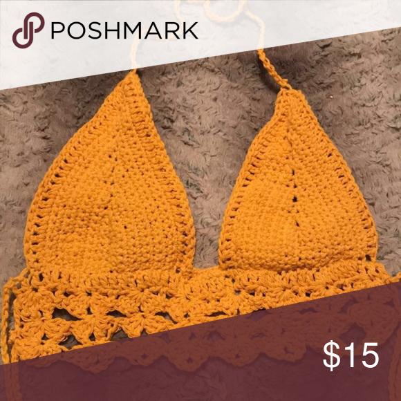 d28cf576a57 Custom Crochet Bralette Bikini Top Beautiful custom mustard bikini top bralette  Custom made by me. Can fit size Xs-M Swim Bikinis