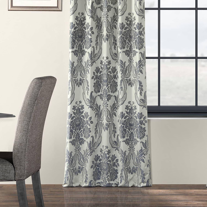 Magdelena Silver Blue Designer Damask Curtain Damask Curtains Curtains Custom Drapes