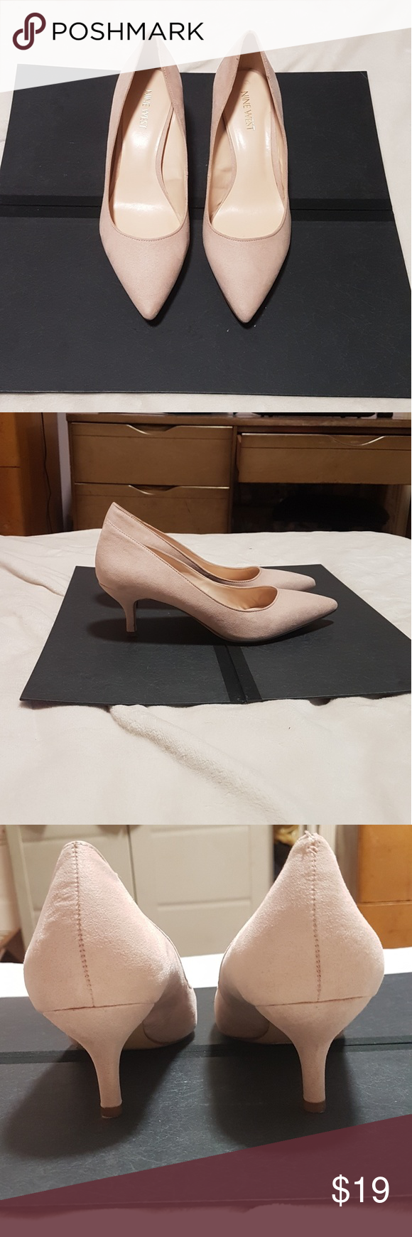 Nine West Pink Suede Nydia Kitten Heels Pointed Toe Heels Pink Suede Shoes Women Heels