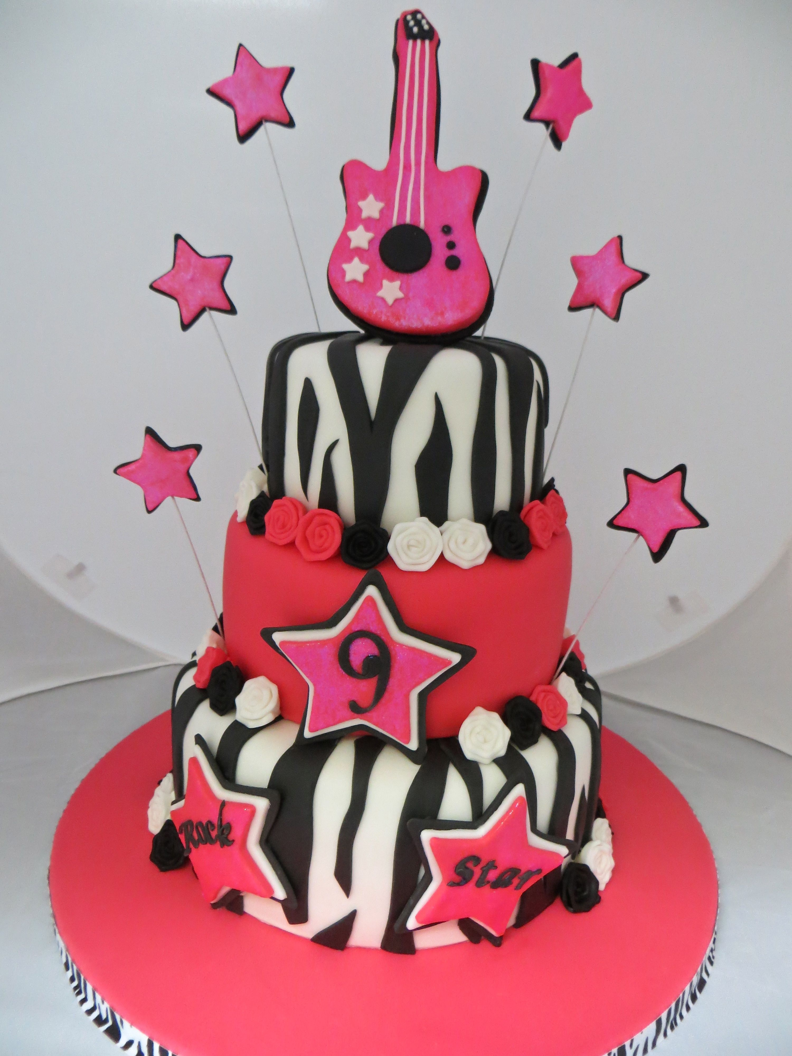 Rock star birthday cake for a spunky 9 year old girl for Decor n more