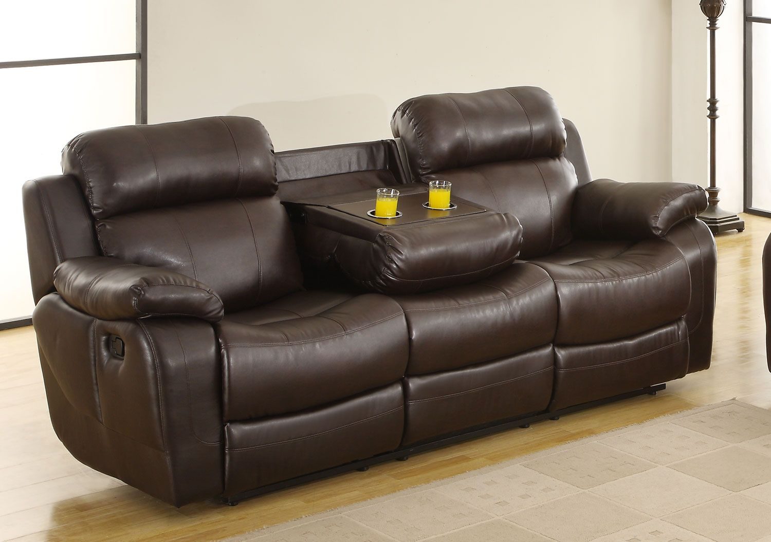 Homelegance Marille Sofa Recliner With Drop Cup Holder Dark