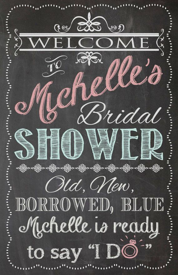 Shabby Chic Vintage Chalkboard Welcome Sign Bridal or Baby Shower - chalk board invitation template