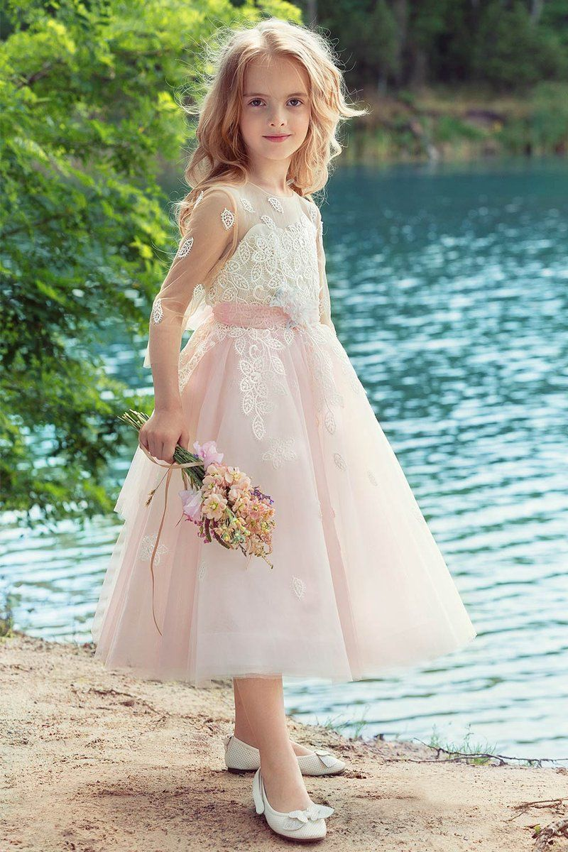 Aline flower girl dresses with illusion lace sleeves in