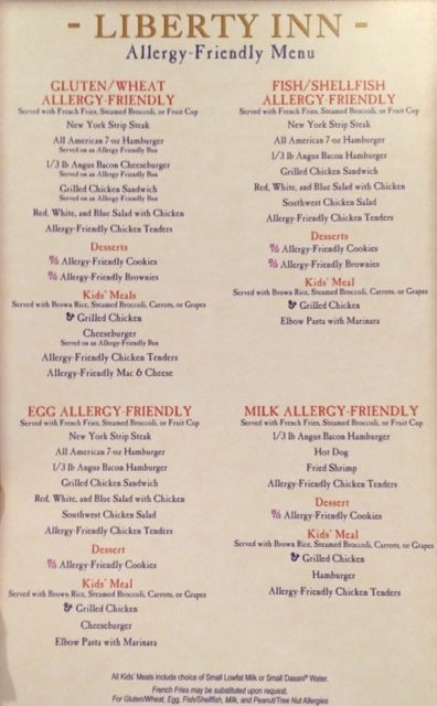 Liberty Inn Allergy Friendly Lunch And Dinner Menu Allergy
