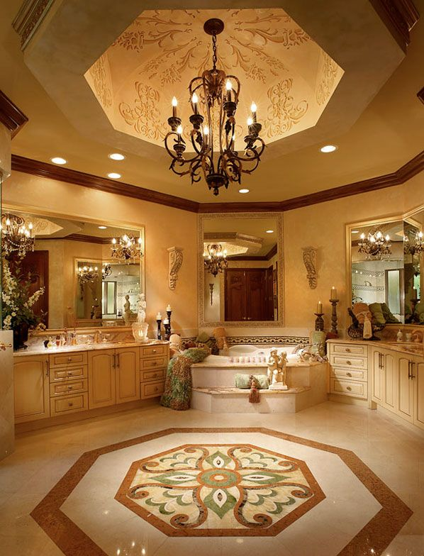 Luxury Master Bathroom Suites luxury master bathroom with custom tile work, tray ceilings