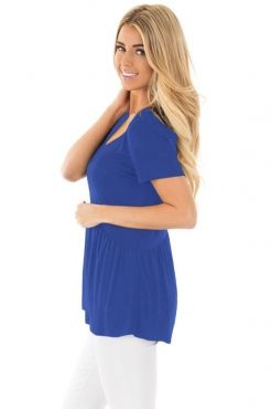 Blue Sweetheart Neckline Babydoll Style T-shirt