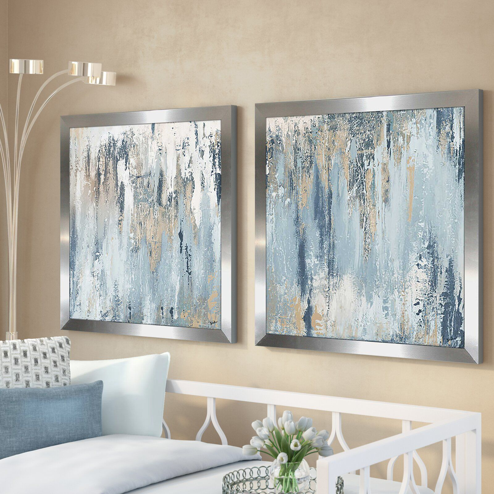blue illusion square 2 piece acrylic painting print set on wall paintings id=13965