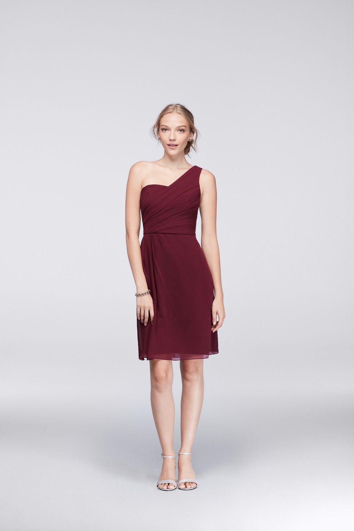A short one shoulder burgundy bridesmaid dress from davids bridal a short one shoulder burgundy bridesmaid dress from davids bridal ombrellifo Images
