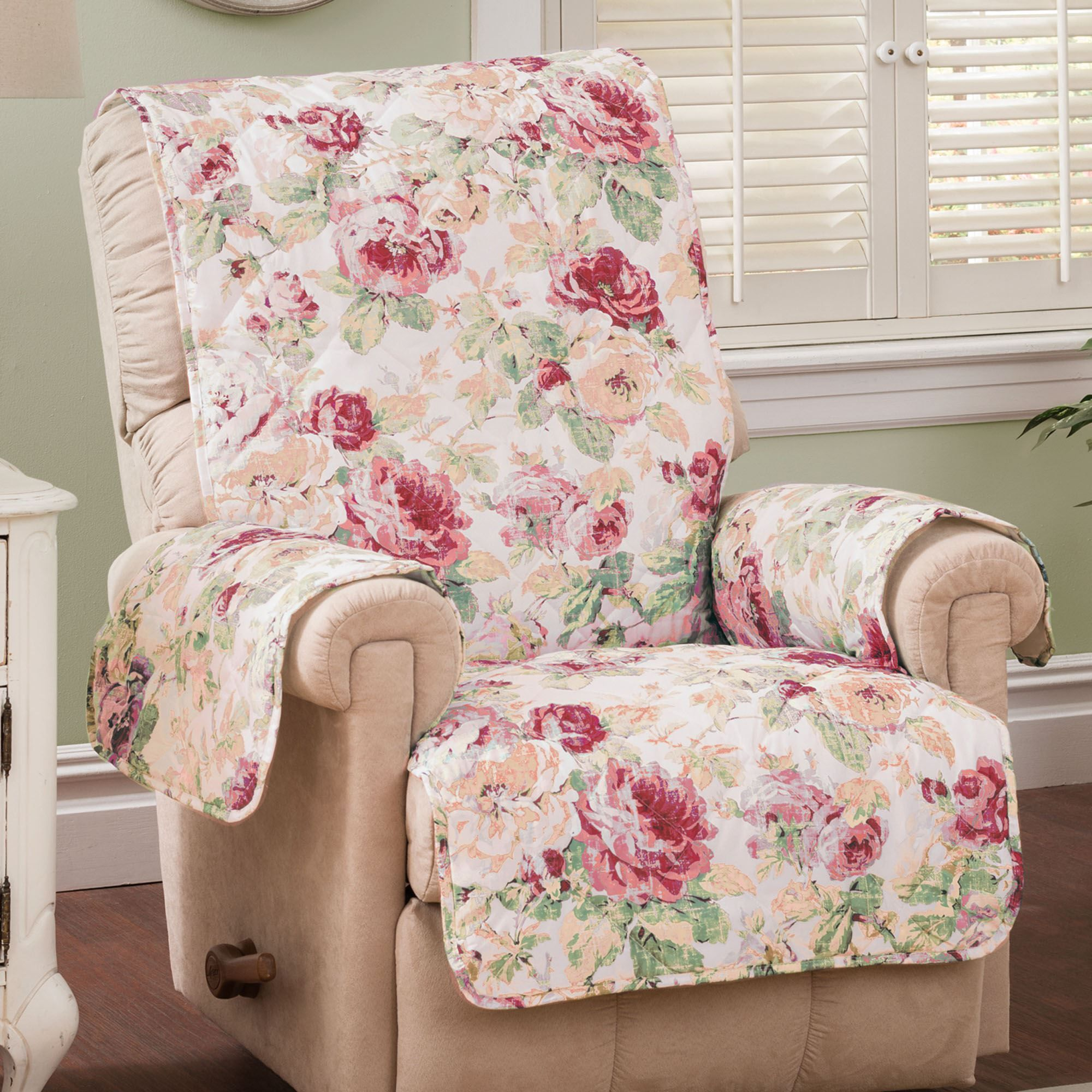 English Floral Furniture Protector Cover Tea Rose Recliner ...