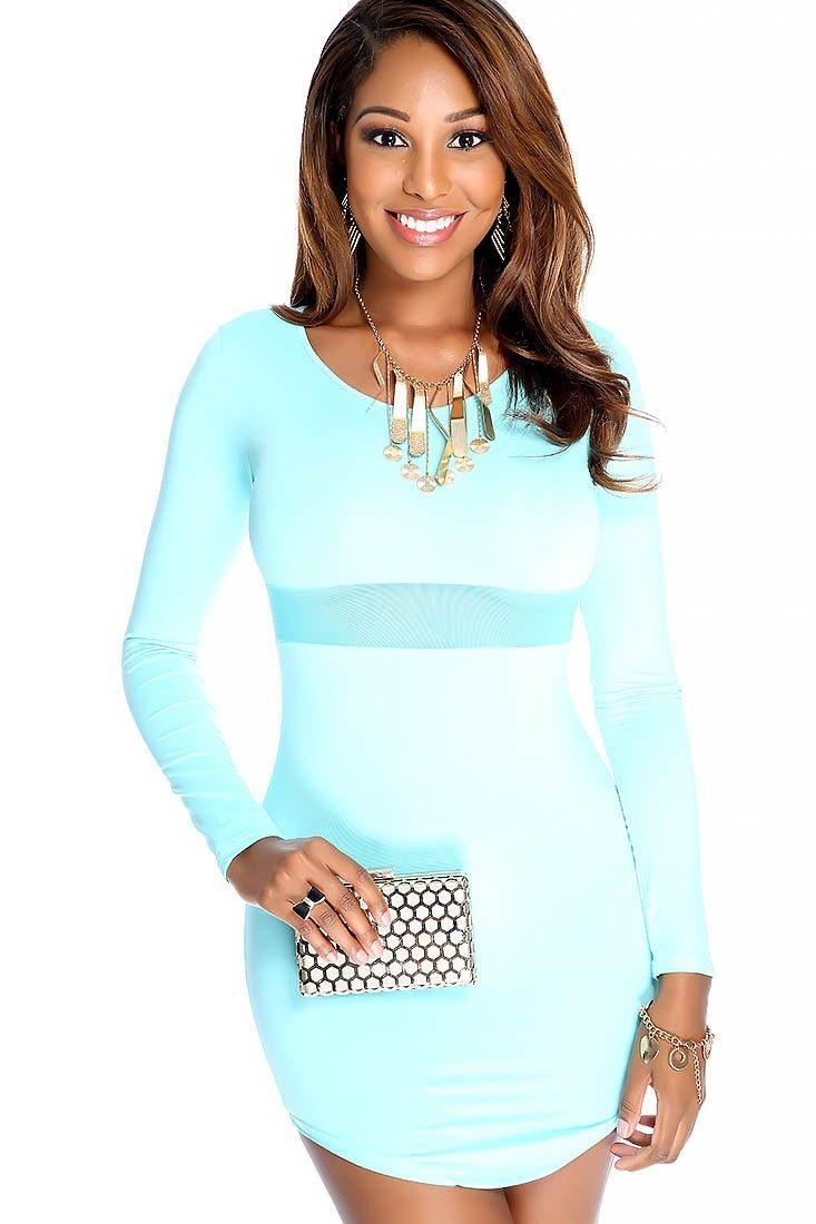 Sexy mint long sleeve sheer cutout bodycon party dress sexy the