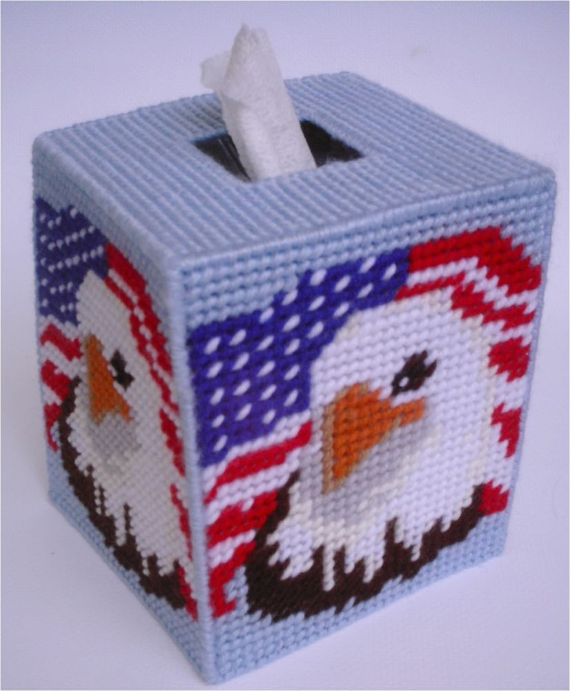 Patriotic Eagle Tissue Topper Plastic Canvas Pattern
