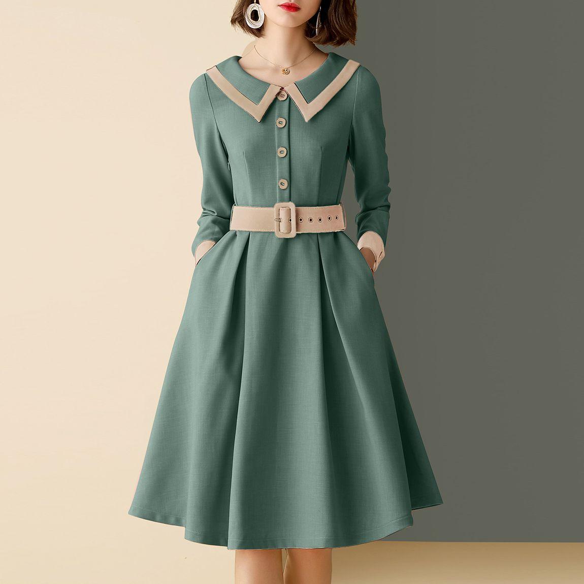 Classic Vintage Ladies Long Sleeve Dress Clothinsstyle Long Sleeve Dress Online Women Long Sleeve Dress Long Sleeve Dress [ 1150 x 1150 Pixel ]