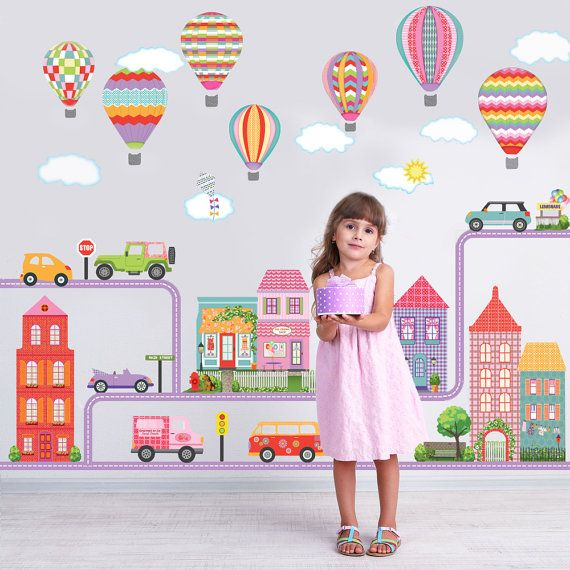 Girl's Adventure Town, Vehicles and Hot Air Balloon Decals