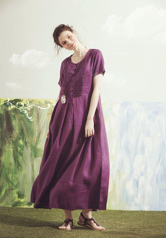 Une robe violette,robe longue de lin, Violette robe de