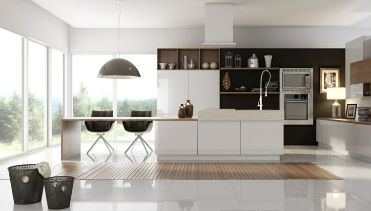 Cocinas con isla 50 ideas de muebles blancos o de madera. | Suelo ...