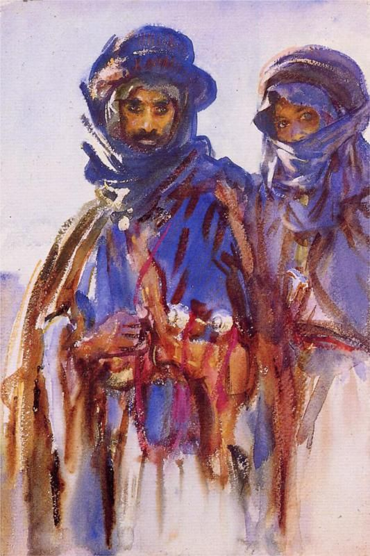 """John Singer Sargent, """"Bedouins,"""" 1905 // Beautiful blues and sketchy marks accent an incredibly rendered face."""