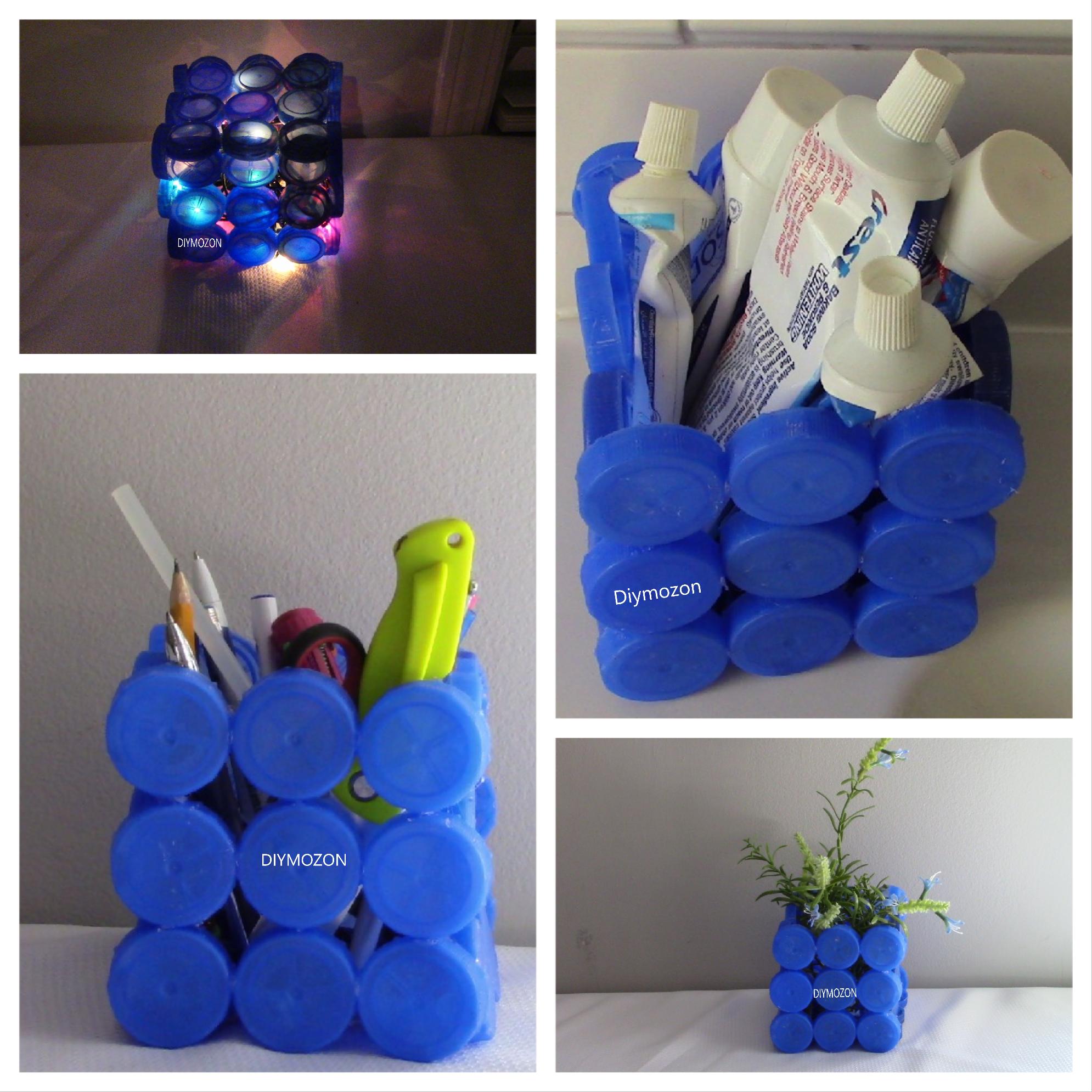 إعادة تدوير أغطية العلب البلاستيكيه Handicraft Recycled Glass Recycling