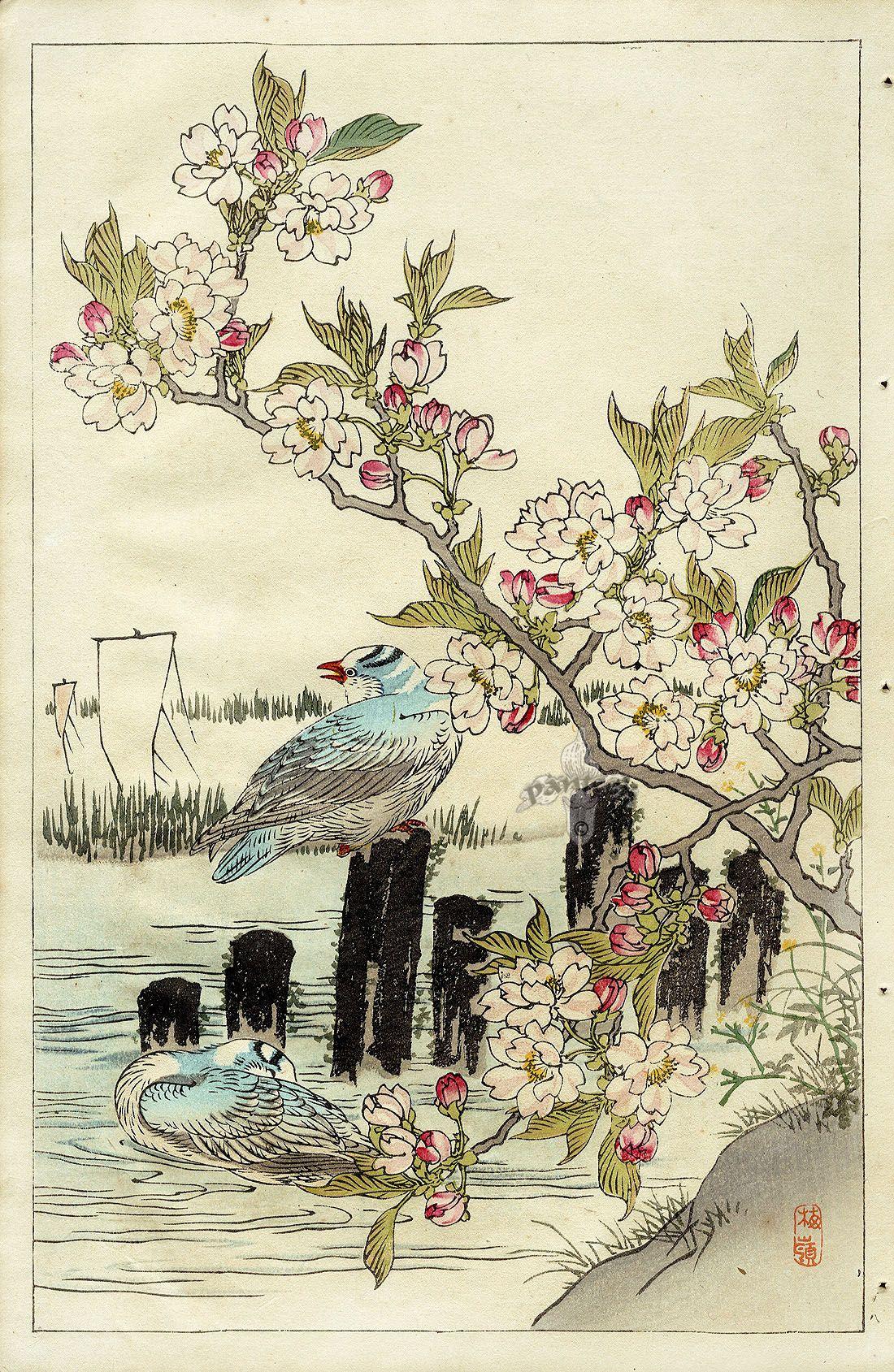 картинки для декупажа японские гравюры элементы