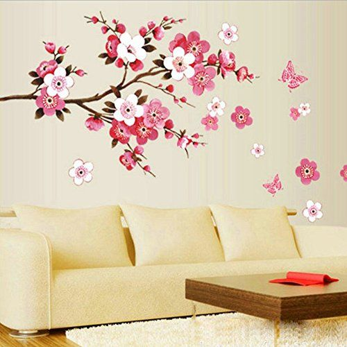 Large Peach Blossom Flower Butterfly Wall Stickers Art Decal Home Room Decor DIY  sc 1 st  Pinterest & Plum flower Tree Butterfly Art Vinyl Wall Sticker Decal M... http ...