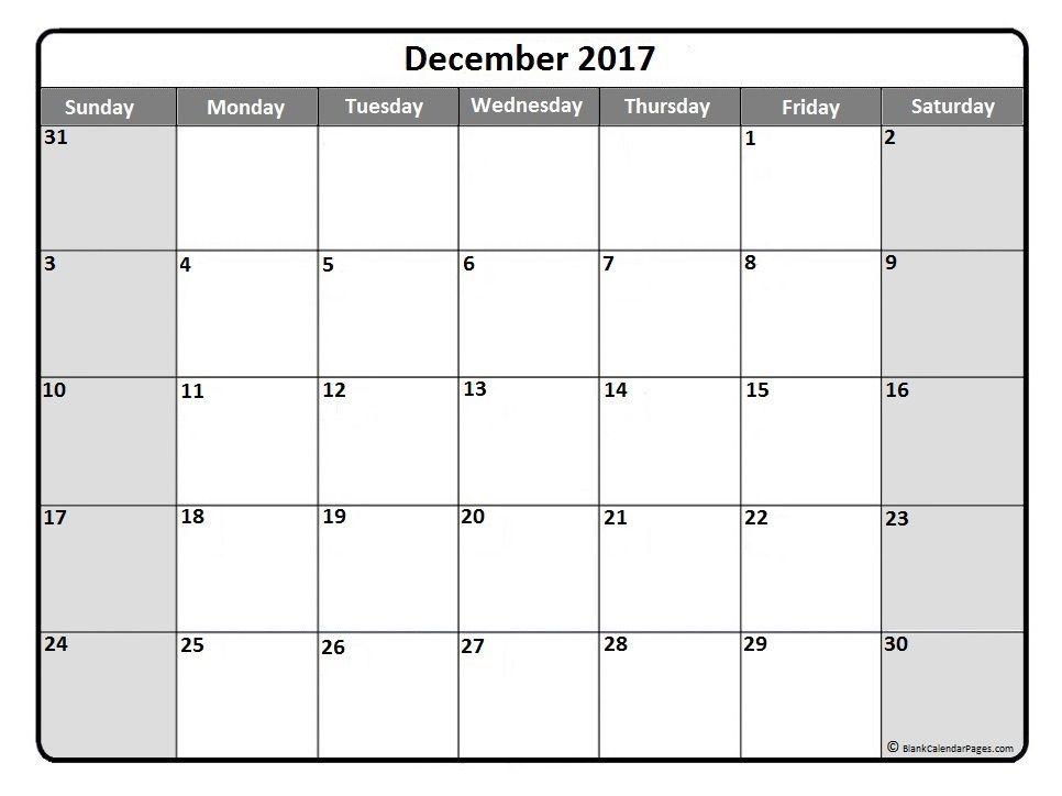 blank 2017 calendar template
