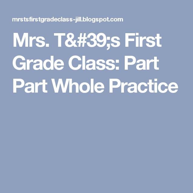 Mrs. T\'s First Grade Class: Part Part Whole Practice | MATH FREEBIES ...