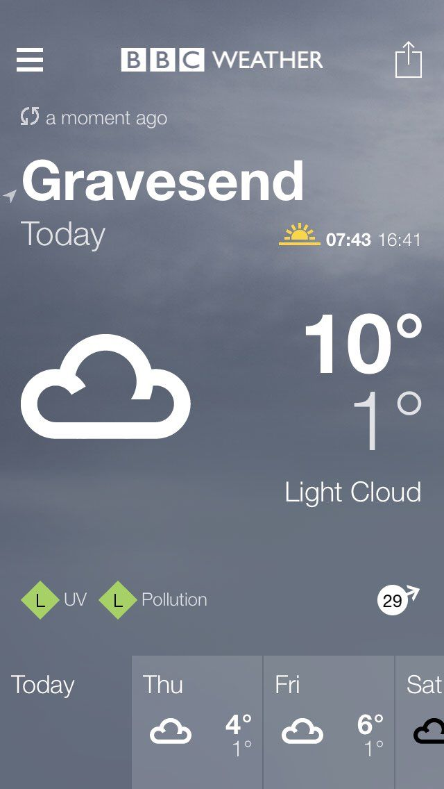 Bbc Weather Forecast For Gravesend Kent Today Light Cloud Max 10 C Min 1 C Wind 29mph Wsw Http Www Bbc Co Uk Weather 2648 Bbc Weather Gravesend Clouds Weather conditions with updates on temperature, humidity, wind speed, snow, pressure, etc. www pinterest ph