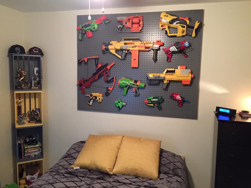 Painted Peg Board Nerf Gun Display Ad A Frame Around