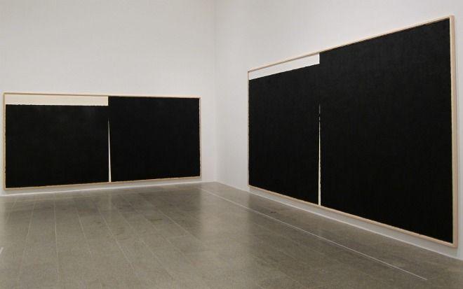Four Paintings Of Richard Serra Art Hanging In Black And White In The Corner Of The Met Richard Serra Serra Contemporary Modern Art